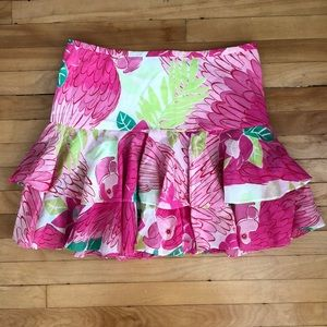 Lilly Pulitzer pink parrot skirt